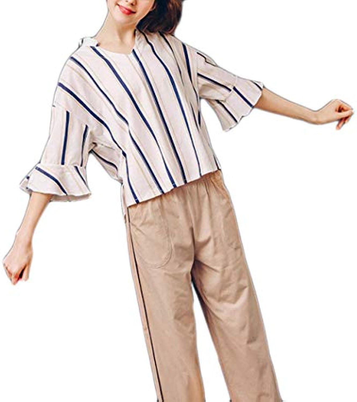 ... Accappatoio Donna Fashion Casuali Stripe Confortevole Classiche  Nightdress Primaverile Autunno Stripe Casuali Set da Pigiama. 0cafec6239f