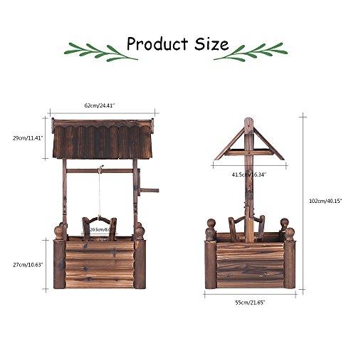 iKayaa Dekobrunnen Holzbrunnen Zierbrunnen Brunnen Gartenbrunnen aus Holz mit Dach - 2