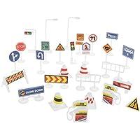 B Blesiya 9/28 Unidades Señales de Tráfico de Carretera de Simulación Juguete de Aprendizaje de Conocimiento de Tráfico para Niños Niñas - 28pcs- #A