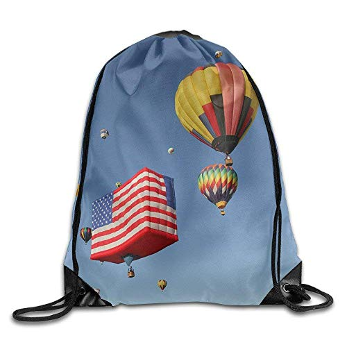 Unisex Drawstring Water Resistant Sack Bags Hot-air Balloons Against Blue Sky Folding Sport Training Gym Sack for Hiking Swimming Yoga,Beach Excursion Storage Use Birthday Gift