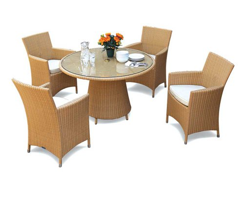 rattan garden table and 4 chairs set glass top 4 seater rattan dining set jati brand. Black Bedroom Furniture Sets. Home Design Ideas