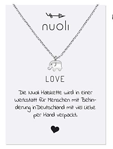 Nuoli® Elefanten Kette Silber (45 cm) Glücksbringer Halskette für Frauen