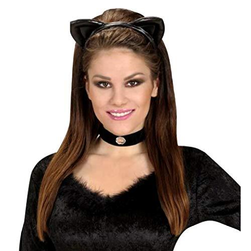 PICCOLI MONELLI Cerchietto orecchie gatto nero sexy in finta pelle
