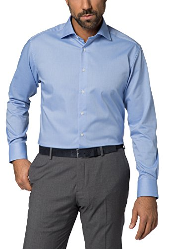 Eterna Long Sleeve Shirt Modern Fit Natté Structured azzurro chiaro