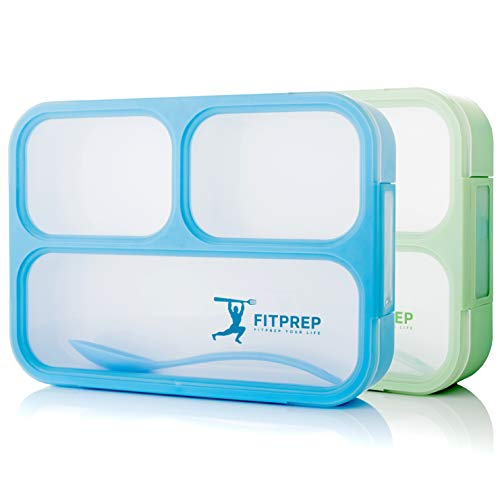 FITPREP® Premium Lunchbox Bento Brotdose Set für Kinder & Erwachsene 2 Stück Meal Prep 3 Fächer Auslaufsicher - Jede Kammer untereinander BPA frei - inkl Ebook