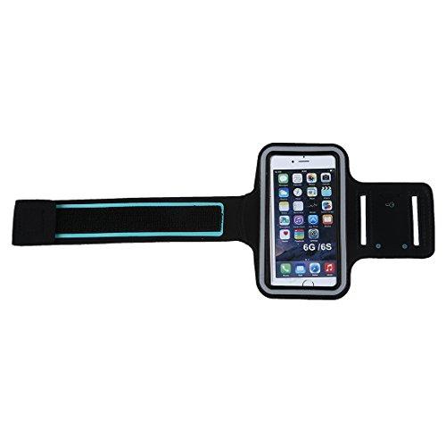 Iycorish Fuer iPhone6 Sport laufende Armbinden Huelle Abdeckung mit verstellbarem Buegel u. Schluesseltasche schwarz