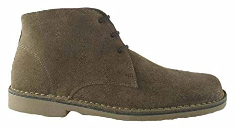 Roamers Mens 3 Eye Square Toe Suede Leather Desert Boots