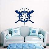 Lovemq 57 * 56 Cm Baseball Wall Decal Crossed Pipistrelli Decalcomania Sport Vinile Adesivo Decorazioni Per La Casa Wall Stickers Home Decor Soggiorno Di Alta Qualità