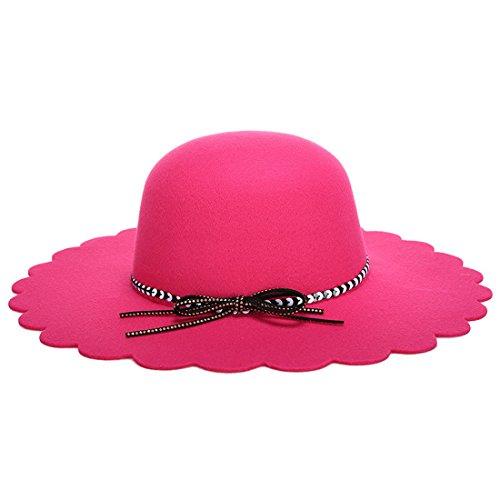 KAXIDY Femmes Filles Chapeau Feutre Laine Elégante Chapeau à Larges Bords Automne Hiver Bonnet Chapeaux Rose-Rouge