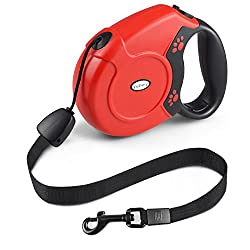 Retractable Dog Lead, Fupany 26ft8m Extendable Walking Dogpet Leads Strong Nylon Leash For Small Medium Large Dogs Up To 40kg88bls With One Button & Lock System (Red)