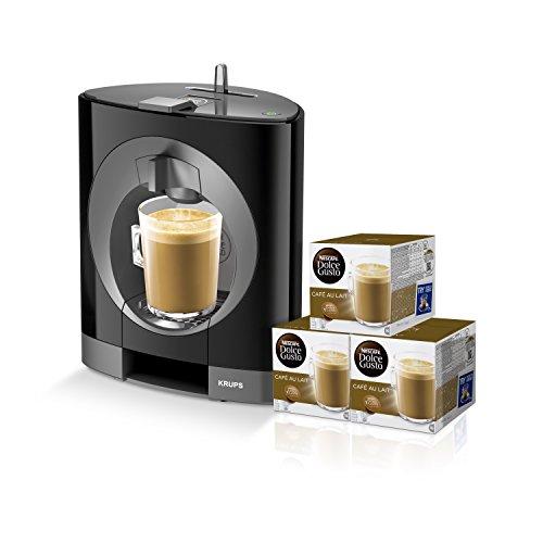 Pack Krups Dolce Gusto Oblo KP1108 - Cafetera de cápsulas, 15 bares de presión, color negro + 3 packs de café Dolce Gusto Con Leche