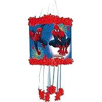 Pinata * ULTIMATE SPIDER-MAN * - als Zugpinata für bis zu 7 Kinder - plus Maske. Wird mit Süssigkeiten oder Spielen gefüllt, ca. 28cm Durchmesser // Piñata Mexiko Kinder Geburtstag Kindergeburtstag Spiele Spass Marvel Spiderman