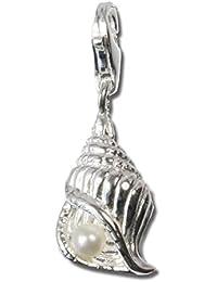 Plata Dream 925plata de ley Charm caracola color blanco plata colgante para pulsera cadena pendientes fc242W