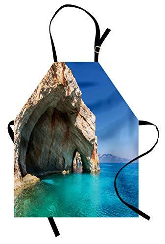ABAKUHAUS Griechenland Kochschürze, Sea Cave auf Zakynthos Island Griechenland Urlaub Entspannung Seascape Coastline Bild, Farbfest Höhenverstellbar Waschbar Klarer Digitaldruck, Hellblau ()