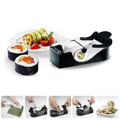 Pratique Machine à sushi en ABS noir, taille: 19 * 8.3 * 6.5cm