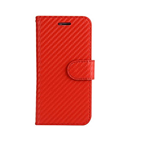 ARTLU® (Rouge en fibre de carbone Wallet) For iphone 7 plus (5.5) étui Cover Case Carbon Fiber BookStyle PU cuir Wallet flip avec le Crédit couverture de peau Slot / carte de débit Avec écran Wallet Portefeuille Support avec Porte-cartes pour iphone 7 plus (5.5)