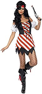 Smiffys-30479M Miffy Disfraz de Pirata, con Vestido, Mangas, Parche y pañoleta para la Cabeza, Color Rojo y Blanco, M-EU Tamaño 40-42 (Smiffy