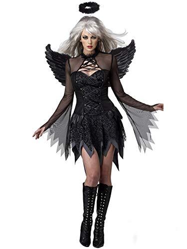 Lecoyeee Damen Horror Zombiebraut Kostüm Halloween Fasching Böse Engel Flügel Kostüm Gruselig Karneval Verkleidung Party Geist Braut Vampir Sexy Cosplay Kleid Set für Erwachsene Frauen (Dunkles Rotkäppchen Für Erwachsene Damen Kostüm)
