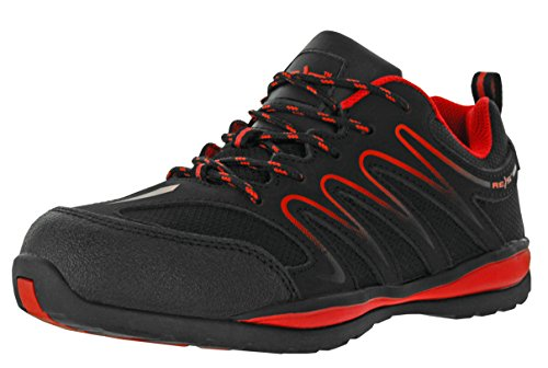 Ecuador Arbeitsschuhe Berufs-Schuhe Ohne Stahl-Kappe, Rutschfeste Sohle, Benzinresistent, Farbe Rot, Größe: 43