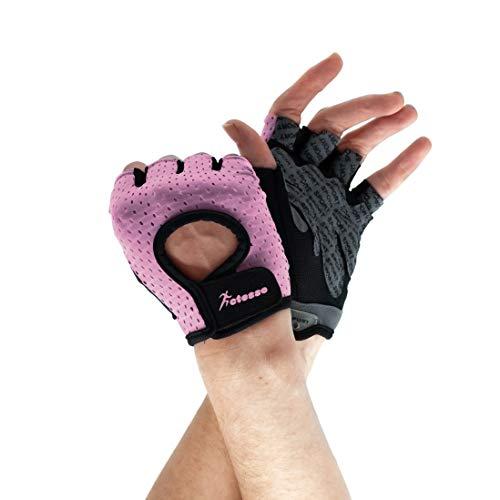 Actesso Breathable Fitness Gloves - Gepolsterte Fingerlose Handschuhe für Radfahren, Fitness, Gewichtheben (M, Rosa) (Fingerlose Rosa Handschuhe)