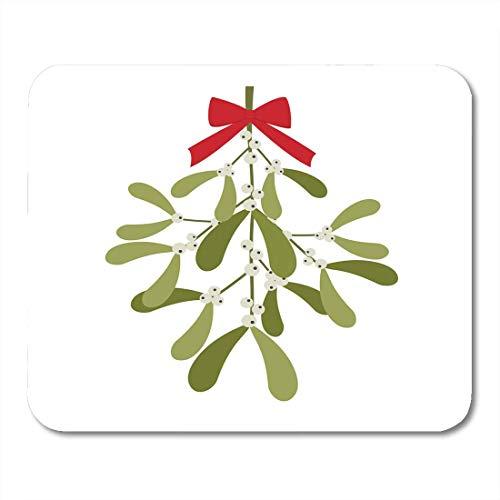 Luancrop Mauspads Weiße Weihnacht-Bunte Beeren-hängende Mistel mit roter Bogen-Grün-Feier-Zeichnungs-Mausunterlage für Notizbücher, Tischrechner-Mausunterlagen, Büroartikel -