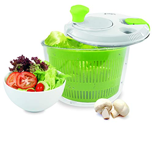 NERTHUS FIH 018 018-Centrifugeuses salades de 20 cm de diamètre, avec Fermeture de sécurité et 2 Sorties/entrées pour Liquide, Couleur Transparent, Blanc, Vert, Origine