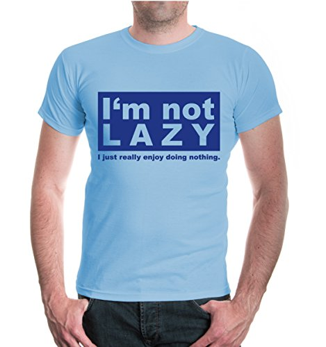 buXsbaum® T-Shirt Im not lazy I just really doing nothing Skyblue-Royal