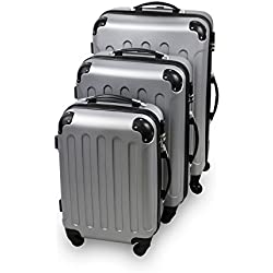 Serie di 3 valigie Trolley argento - Valigie rigide a rotelle con sicurezza - 20''/24''/28''