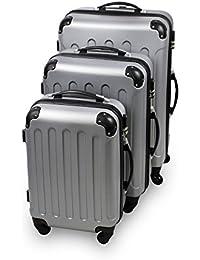 Set de 3 maletas Trolley, Maletas sólidas con ruedas - plata