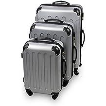 Todeco - Juego De Maletas, Equipaje De Viaje - Material: Plástico ABS - Ruedas: 4 ruedas de rotación de 360__° - Protected corners, 51 61 71 cm, Plateado, ABS
