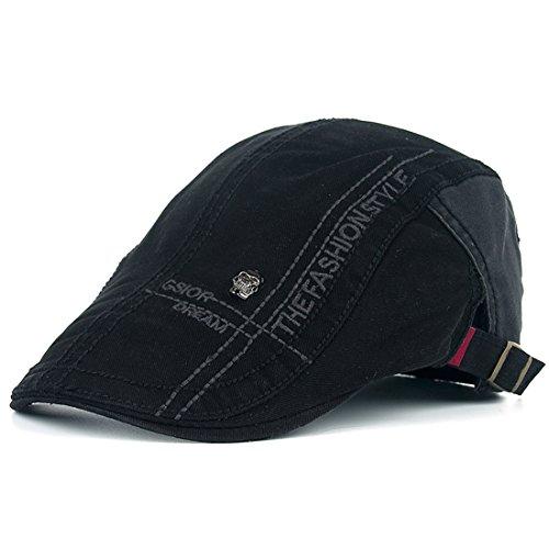 Kuyou Unisex Gatsby Flatcap Schiebermütze Ivy Schirmmütze Kappe (Schwarz) (Der Große Gatsby-kleidung)