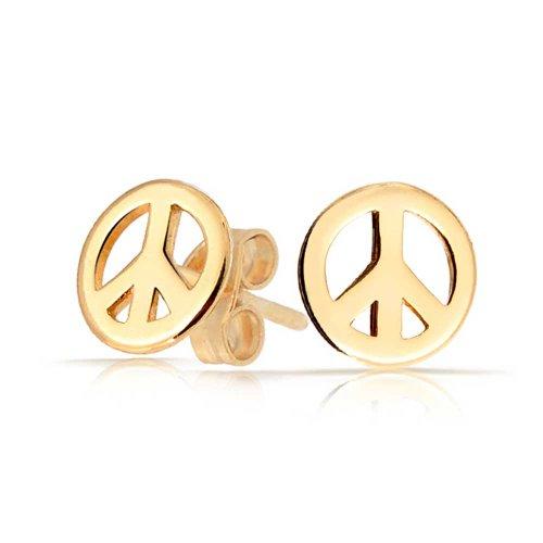 Winzige World Peace Symbol Ohrstecker Für Damen Für Jugendlich 14 K Vergoldet Sterling Silber 925