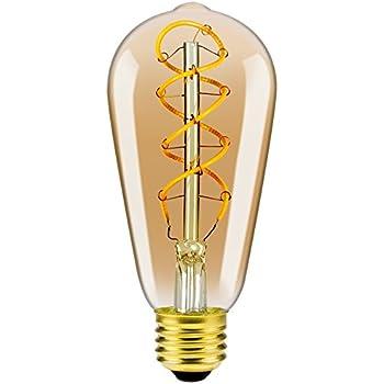 Vintage Edison Glühbirne LED Lampe Birne ST64 Doppel Spirals Mit E27 Sockel  Flexibel Filament Dimmbar Warmweiß (2200K) 140 Lumen Ersetzt 25 Watt  Bernstein ...