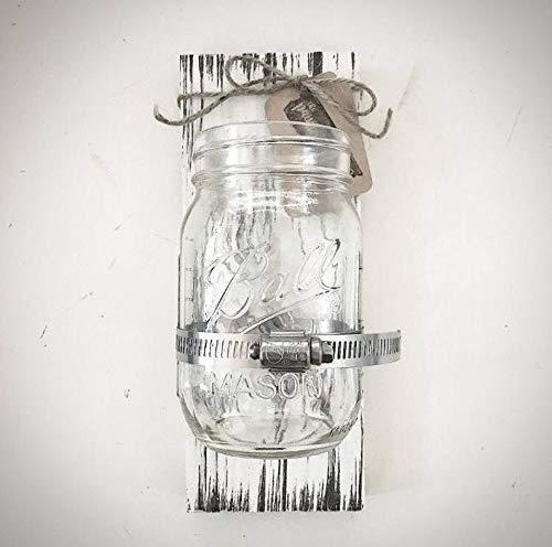 Mason Jar Holder - 3,5 x 9 verwittertes weißes Holz Glas Klammer Schild - Holz Bad Zahnbürstenhalter Plank - DIY Glasbehälter ()