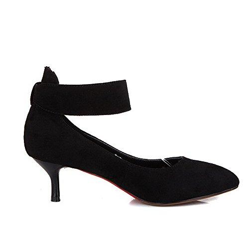VogueZone009 Femme Boucle Fermeture D'Orteil Pointu à Talon Correct Dépolissement Chaussures Légeres Noir