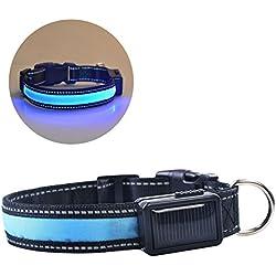 VLUNT Collar para Perro Energía Solar Dog Collar Recargable Mediante Cable USB Collar para Perro 4 Colores y 3 Tallas Dog Necklace (Azul)