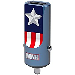 Tribe Marvel 2.4 A Cargador de coche Fast Charge I USB Cargador Universal para iPhone, iPad, Smartphone Samsung Galaxy, Huawei, LG, Nexus - Captain America