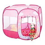 Relaxdays Bällebad Einhorn, 100 Bälle, Kinder Spielzelt, Pop Up Ballpool, Indoor & Outdoor, HBT 75 x 90 x 90cm, rosa