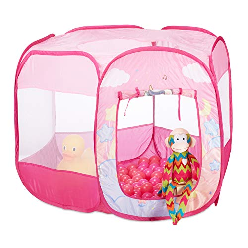 Relaxdays Piscina Plegable de Unicornio con 100 Bolas, Color Rosa, 75 x 90 x 90 cm (10024760)