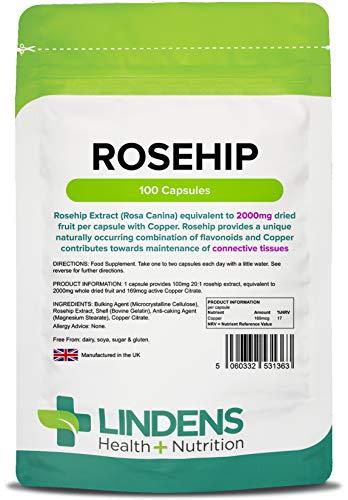 Lindens Hagebutte 2000 mg Kapseln | 100 Verpackung | Konzentrierter Extrakt im Verhältnis 20:1. Beliebte Nahrungsergänzung in einer leicht einzunehmenden Kapsel, die den Wirkstoff schnell freisetzt -