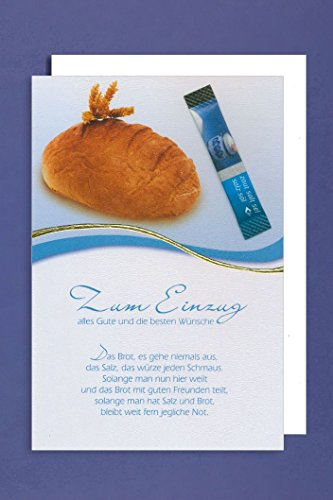 Einzug Grußkarte Zum Einzug alles Gute Brot Tütchen Salz 16x11cm