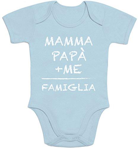 Mamma+papà+Me=Famiglia - Idea Regalo per Mamma e papà Body Neonato Manica Corta 0-3 Mesi Celest