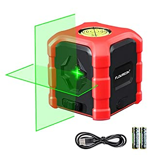 FLOUREON Green Laser Level Cross Line Laser Self Leveling Laser Line with Green Laser Beam, Bubble Level Type-C Charging Waterproof AA Batteries Included