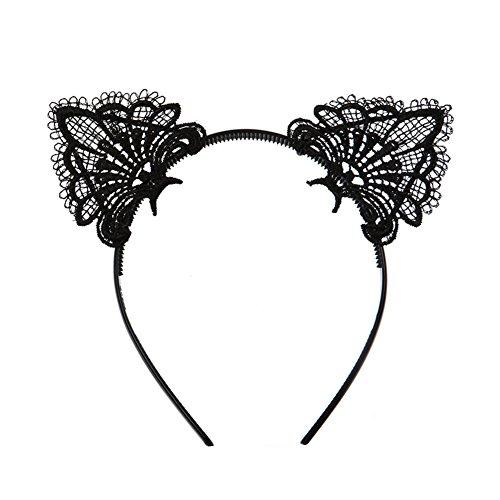 Sexy Lovely niedliche Haarband Schwarz Spitze Katze Ohren Kopfband Haar Zubehör für Weihnachten Masquerade Party Cosplay Kostüm (Schwarze Katze Passt)