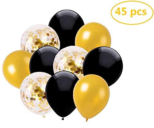 Ohigh 45 Stück Luftballons Schwarz Gold Ballons mit Gold Konfetti Luftballon für Damen Herren Geburtstag Abschluss Halloween Party Deko (ca.30cm)