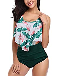 4be5ce04f6f Angerella Women Flounce Frill Top Bikini Set High Waist Ruched Swimwear