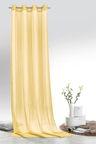 Fashion&joy typ418 - tenda a pannello in voile, con occhielli o passanti, 9 colori, trasparente, tessuto, hellgelb, Ösenschal hxb 245x140 cm