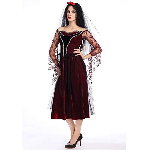 ERJQ Halloween Kleid, Frauen Gothic Braut Scary Halloween Kleid Vampire Horror Kostüm Karneval Party Teufel Tag der Toten Verkleidung Cosplay - Tag Der Toten Teufel Kostüm