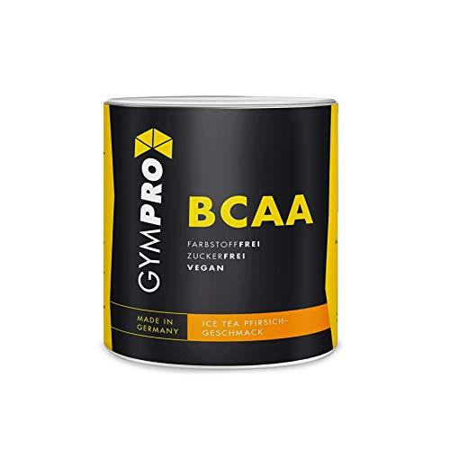 GymPro - BCAA Pulver (Pfirsich-Ice Tea, 500g) fruchtiger Aminosäure Drink, hochdosierte Aminos 2:1:1, Vegan - Bcaa Powder Ohne Zucker & künstliche Farbstoffe - Made in Germany