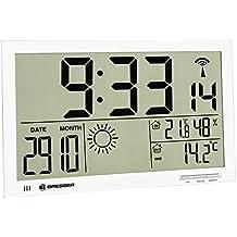 Bresser Orologio da Parete Meteorologico Mytime Jumbo LCD, Bianco